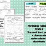 EGZAMIN 8 – praca (karty pracy + plansze ze słownictwem)