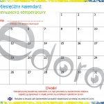 Przedszkole. Tygodniowy kalendarz obserwatora pogody z naklejkami